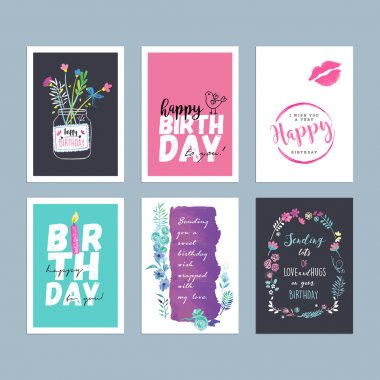 Set of hand drawn watercolor birthday greeting cards