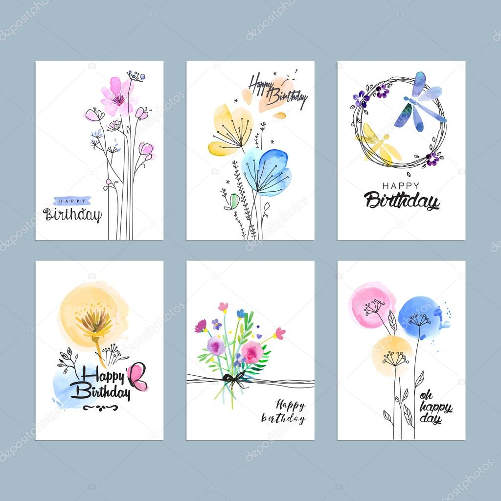 Hand drawn watercolor birthday greeting cards