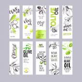 Fotografia Set di etichette di olio doliva dellacquerello disegnato a mano