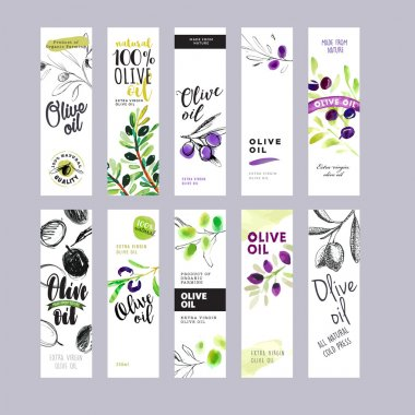 Hand drawn watercolor olive oil labels collection