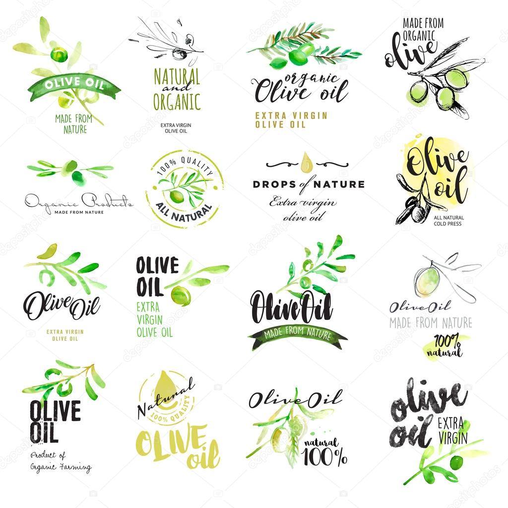 Set of hand drawn watercolor labels and elements of olive oil