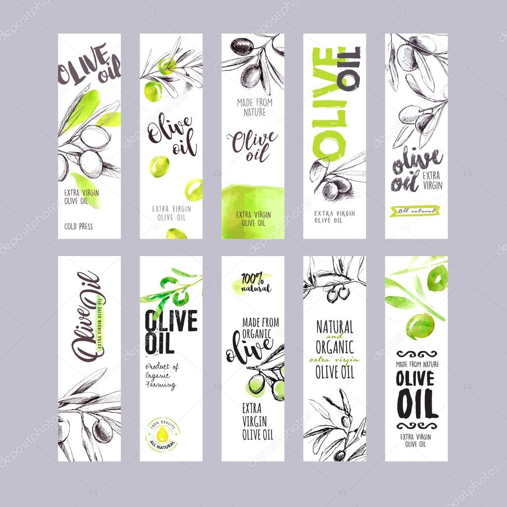 Set of hand drawn watercolor olive oil labels