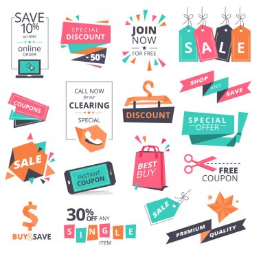 Set of flat design style badges and coupons for shopping