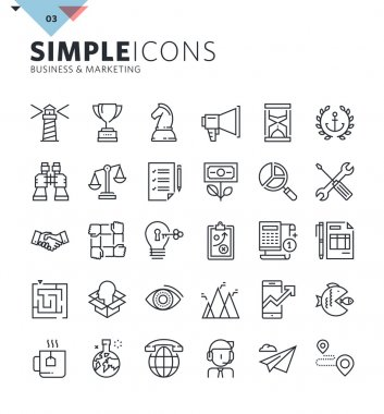 Modern thin line icons of business and marketing