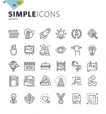 Modern thin line icons of design and art