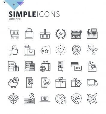 Modern thin line shopping web icons