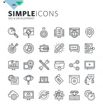 Modern thin line icons of SEO and web development
