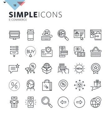 Modern thin line e-commerce web icons