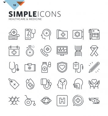 Modern thin line icons of healthcare and medicine