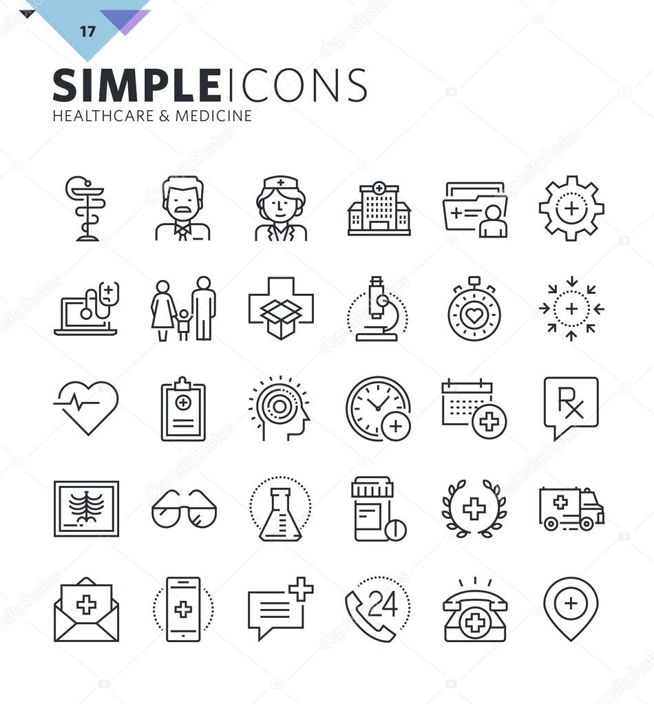 Modern thin line medical icons