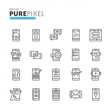 Set of modern thin line pixel perfect icons of mobile apps and services