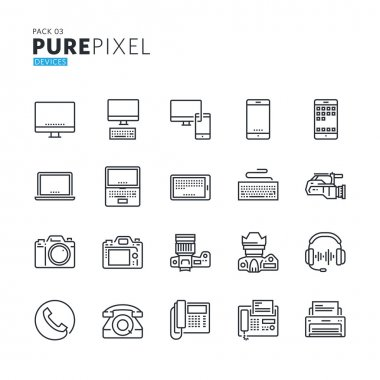 Set of modern thin line pixel perfect icons of electronic devices.