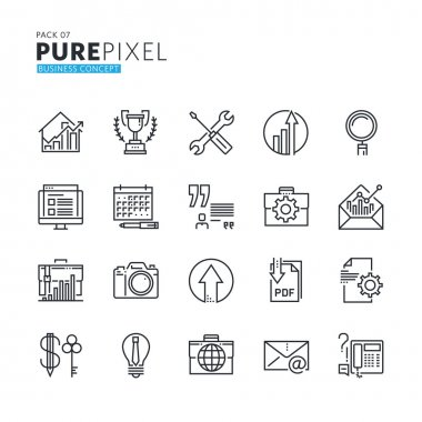 Set of modern thin line pixel perfect business concept icons.
