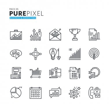 Set of modern thin line pixel perfect icons of business and marketing.