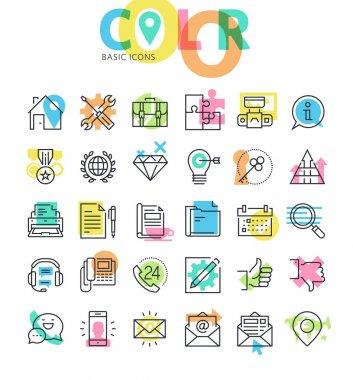 Set of flat line icons clip art vector
