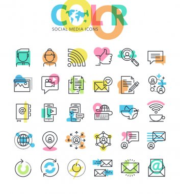 Flat line icons set of social media, networking, internet communication.