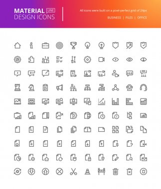 Material design icons set. Thin line pixel perfect icons of basic business essential tools, file management.