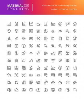 Material design icons set. Thin line pixel perfect icons for business analysis, finance and banking.