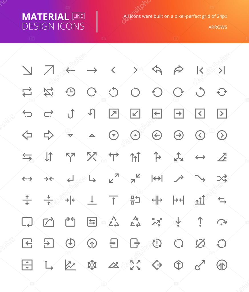 Material design arrow icons set. Thin line pixel perfect icons.