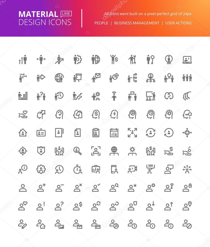 Material design people icons set. Thin line pixel perfect icons of business management, user action, social media.