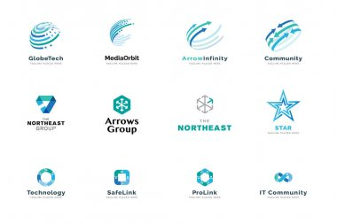 Set of logo design templates. Vector illustrations on the topic of business, technology, network, social media, Internet community, logistics. icon