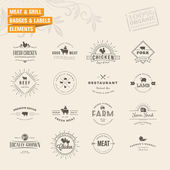 Photo Set of badges and labels elements for meat and grill