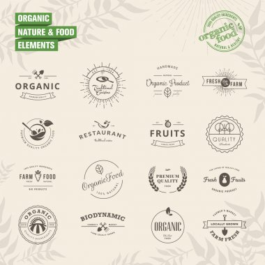 Set of elements for labels and badges for natural food and drink, organic products, biodynamic agriculture clip art vector