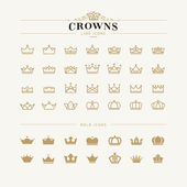 Fotografie Set of crown line and bold icons