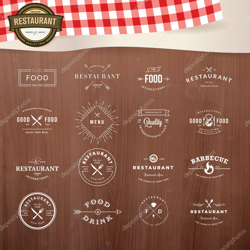 Set of vintage style elements for labels and badges for restaurants, with wood texture and elements of restaurant inventory in the background