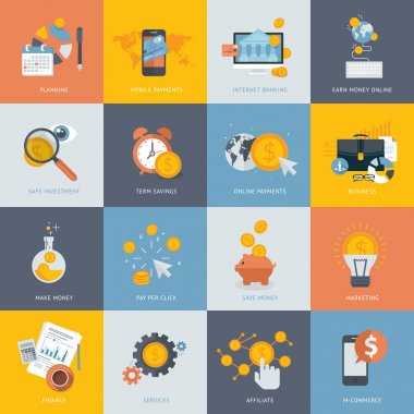 Set of flat design concept icons for finance, banking, online payment, online commerce