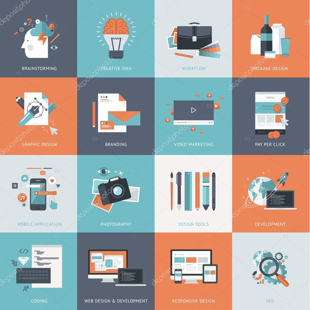 Set of flat design concept icons for website development, graphic design, branding, seo, web and mobile apps development, marketing and e-commerce