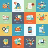 Sada ikon koncept moderních plochý design pro online nakupování