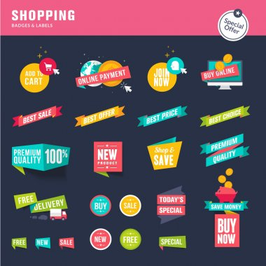 Set of flat design stickers and ribbons for shopping