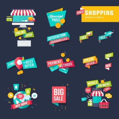 Set of flat design shopping badges and labels
