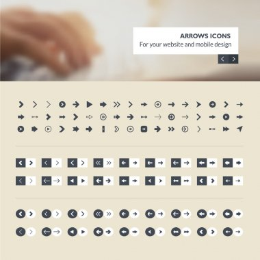 Set of arrows icons for website and mobile app design development