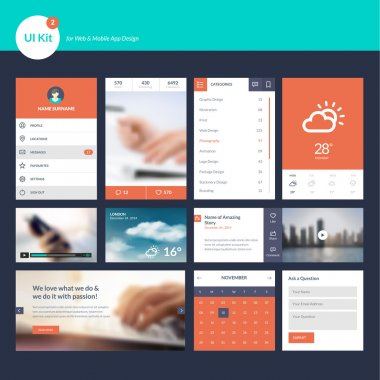 Set of flat design UI and UX elements for website and mobile app design