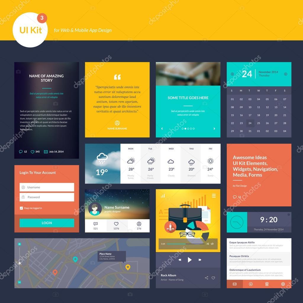 insieme di elementi di design piatto per sito web e lo On sito web di mobili di design