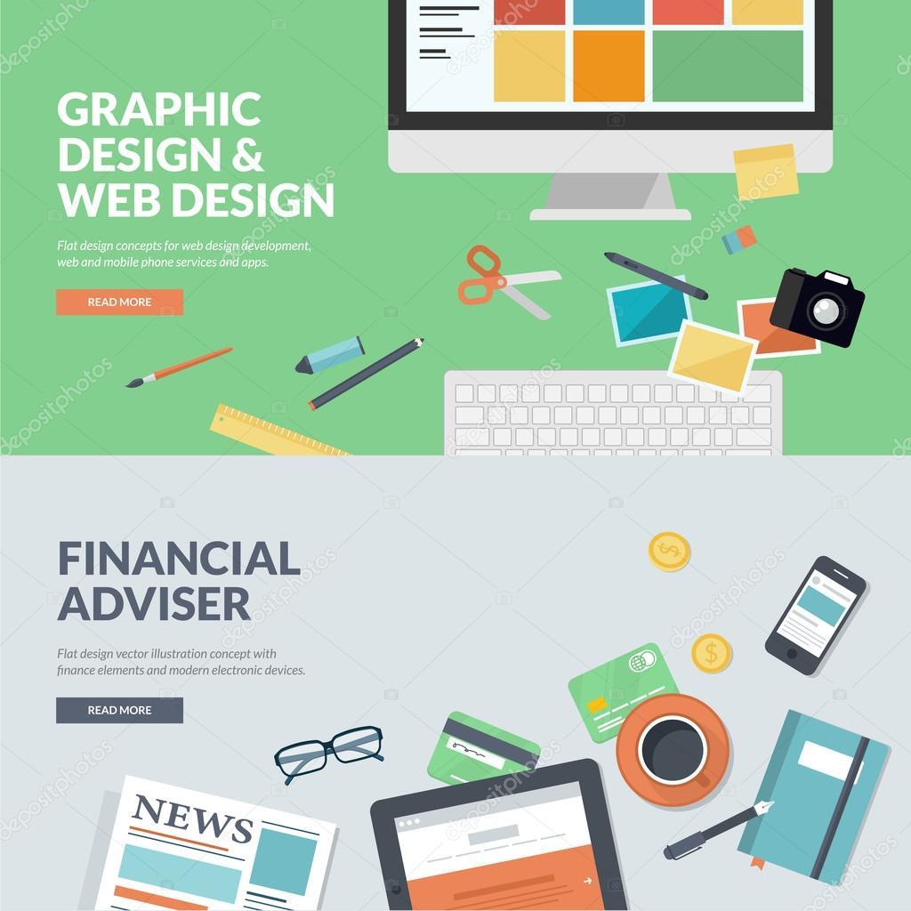 Flat design vector illustration concepts for graphic design and web design development, and financial adviser