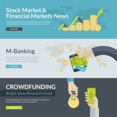 Flat design concepts for business, finance, stock market and financial market news, consulting, business planning and strategy, m-banking, online investing, mobile payment, crowdfunding