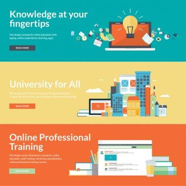 Flat design vector illustration concepts for online education,online professional training courses, staff training, retraining, specialization, university, distance education, tutorials