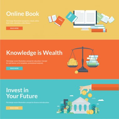 Flat design vector illustration concepts for online book, online library, online book store, finance, education credits, education savings