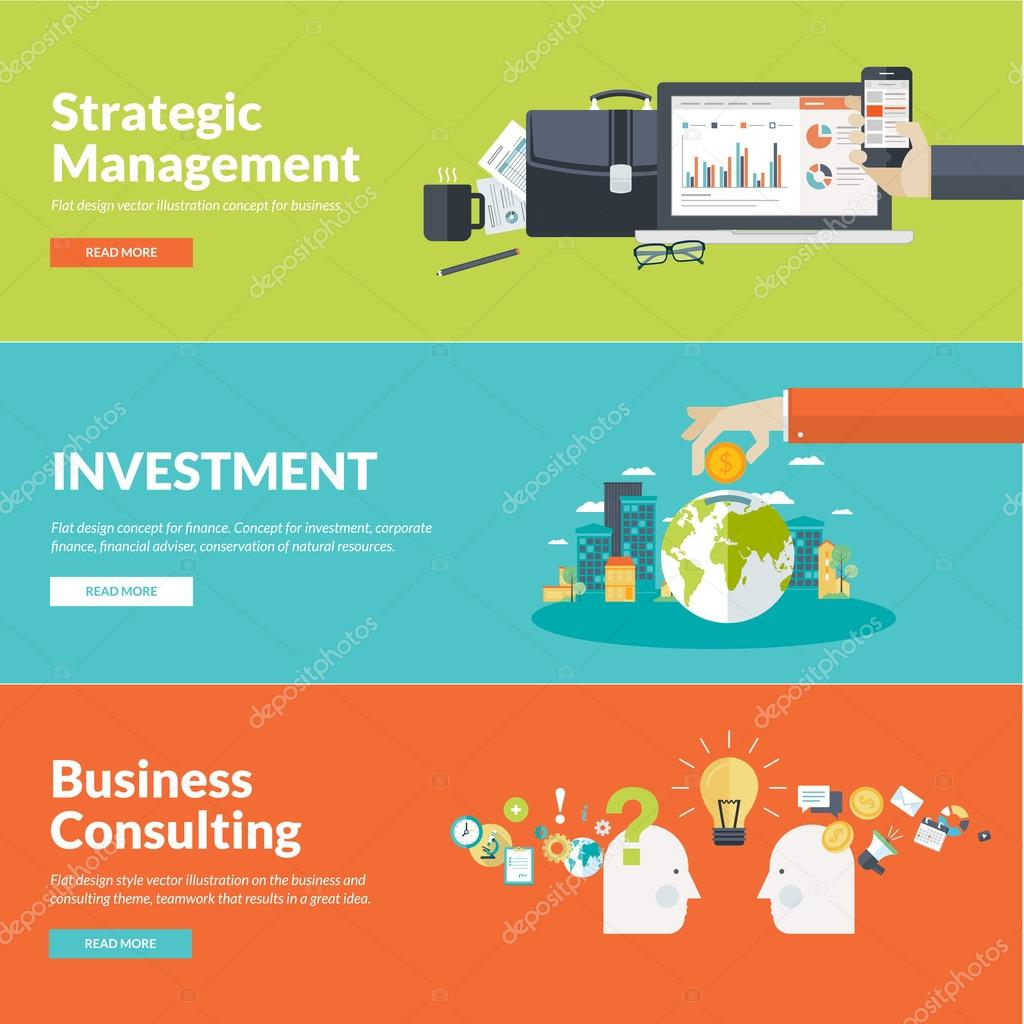 Flat design vector illustration concepts for business, finance, strategic management, investment, corporate finance, conservation of natural resources, consulting, teamwork, great idea