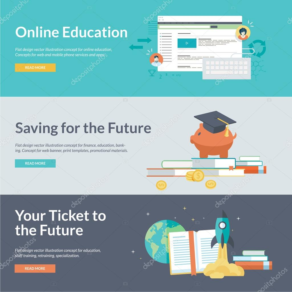 Flat design vector illustration concepts for online education, staff training, retraining, specialization, finance, banking, student loans, marketing