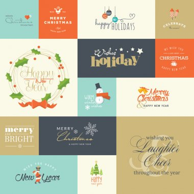Set of flat design elements for Christmas and New Year greeting cards and labels, web badges and banners, and printed materials