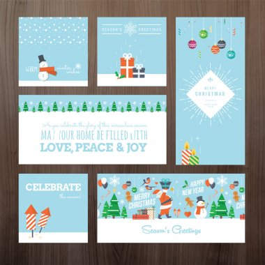 Set of flat design Christmas and New Year greeting card concept
