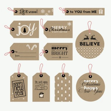 Set of vector Christmas and New Year gift tags clip art vector