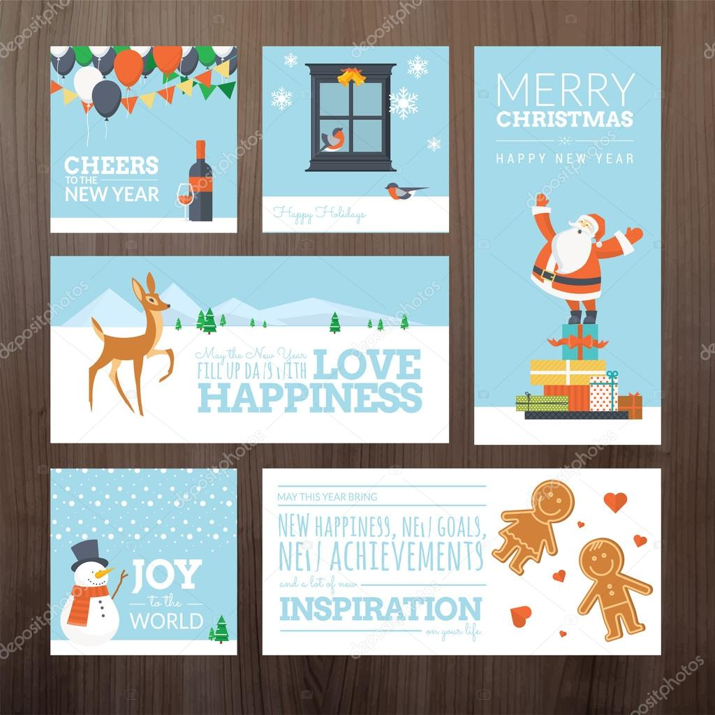 Set of flat design christmas and new year greeting cards and banners set of flat design christmas and new year greeting cards and banners stock vector m4hsunfo Image collections