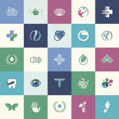 Set of flat design icons for medicine, healthcare, pharmacy, natural product and healthy life