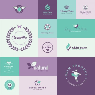 Set of modern flat design beauty and healthcare icons