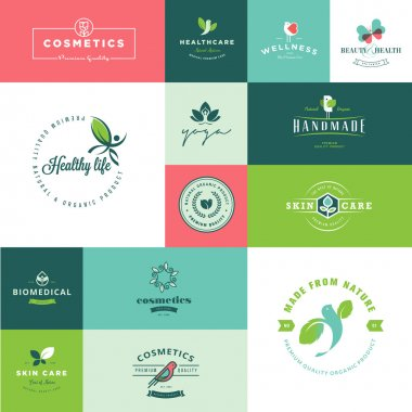 Set of modern flat design beauty and nature icons for cosmetics, healthcare, wellness, natural products clip art vector
